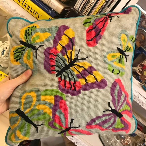 Vintage Other - Butterfly Bright Handmade Needlepoint Pillow
